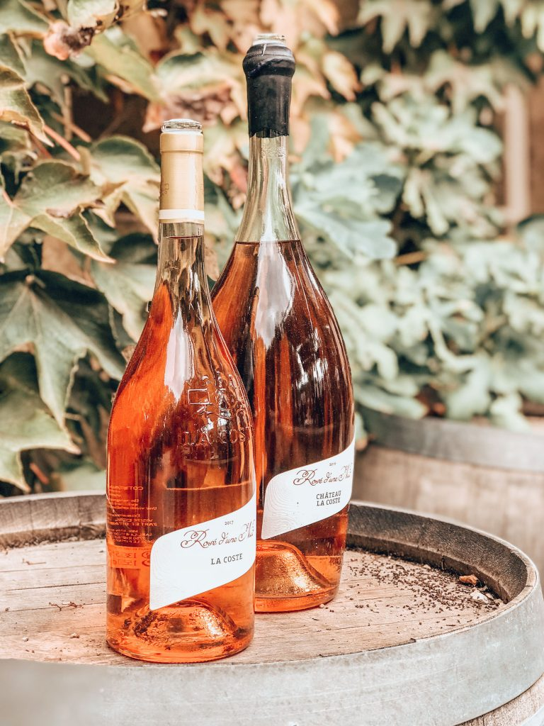 bottles of rose at Chateau LaCoste