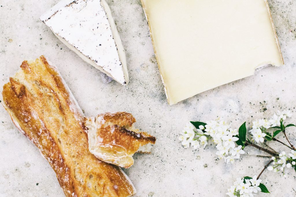 cheese and baguette, an essential part of french lifestyle